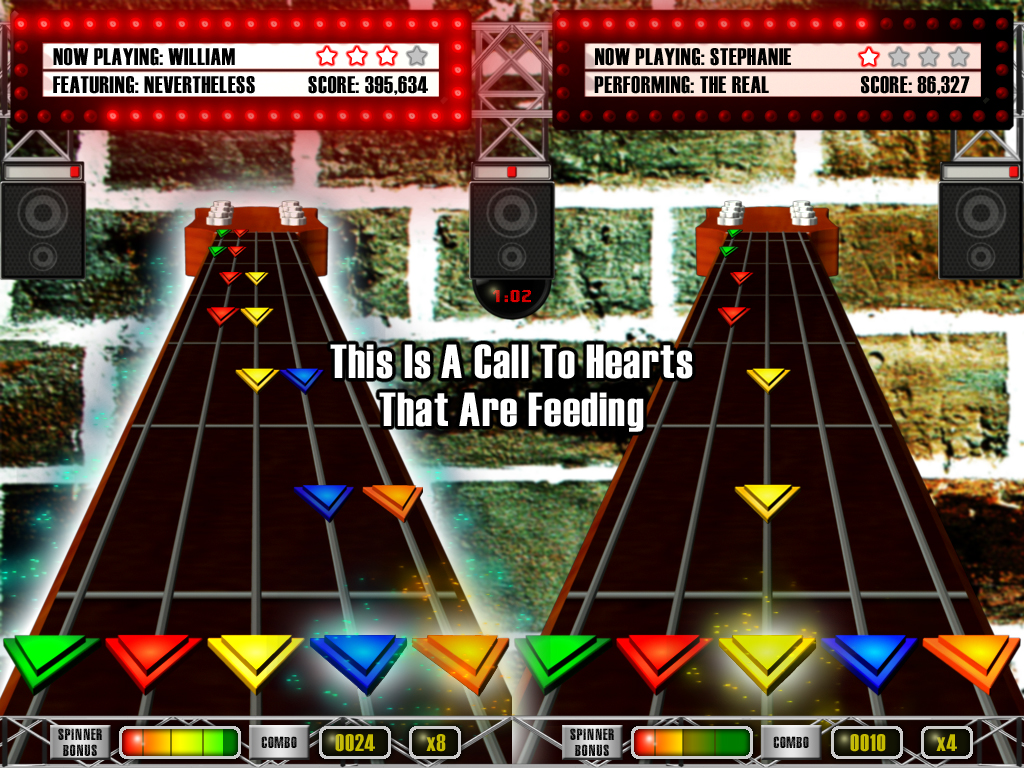 Digital Praise's Guitar Praise Screen Shot with Two Players shown